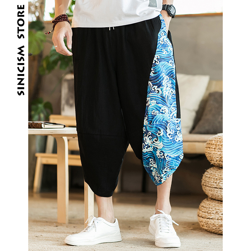Sinicism Store Mens 2018 New Beach Pants Male Summer Casual Calf Length Pants Man Ethnic Style Print Patchwork Loose Trousers