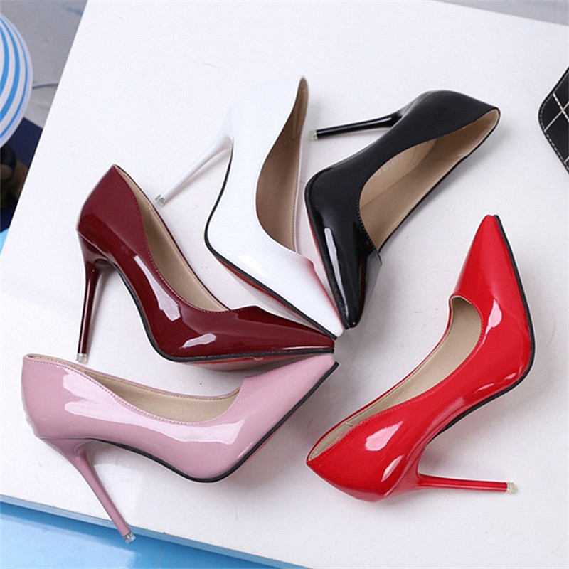 10 CM Heel Pumps 2017 Autumn New Arrival Patent Leather High-Heeled Party Pumps Shoes Shallow Mouth Thin Heel Wedding Shoes