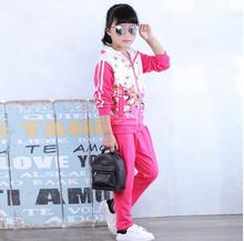 ГОРЯЧАЯ! 2017 детская одежда хан издание с длинными рукавами мода костюмы весной новые девушки из двух частей костюм 2-12 лет