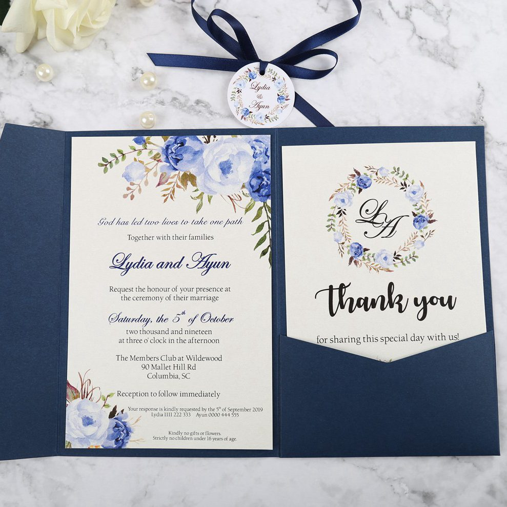 50pcs Blue Pink Burgundy Greeting Cards with Envelope Customized Party Wedding Invitations with Ribbon and Tag