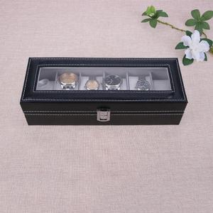 Image 5 - 6 חריצים שעון מקרה קופסא תכשיטי אחסון תיבת עם כיסוי מקרה תכשיטי שעונים תצוגה מחזיק ארגונית