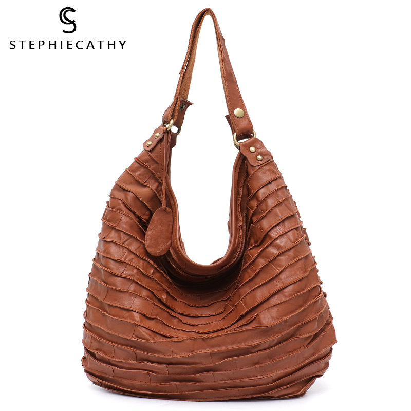 SC Real Leather Sheep Skin Stripe Hobo for Women Large Capacity Lady Shoulder Bag Casual Patchwork