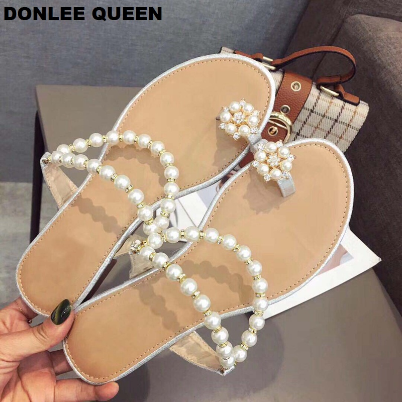 2019 Summer Simple Pearl Beads Rhinestone String Straps Slippers Sandals Women Thong Toe Bling Beach Flip Flops Sandalias Mujer2019 Summer Simple Pearl Beads Rhinestone String Straps Slippers Sandals Women Thong Toe Bling Beach Flip Flops Sandalias Mujer