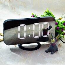 LED Digital Alarm Clock USB Charging Snooze Function Time Memory Mirror Clock Electronic Desktop Table Clocks Home Decoration