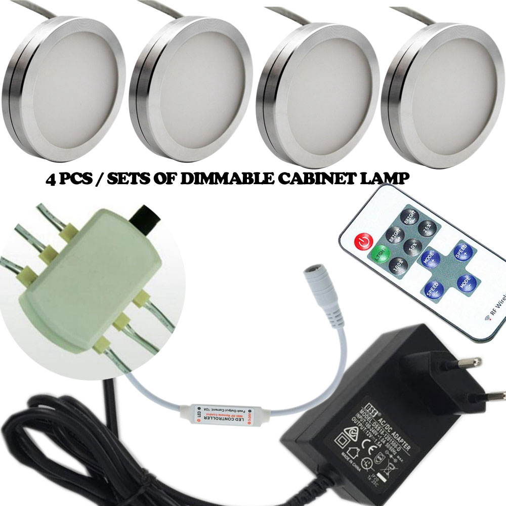 цены 4pcs sets of Dimmable 12V DC 2.5W  LED Under Cabinet Lighting Puck Light  for Kitchen,Counter light With Remote Controller