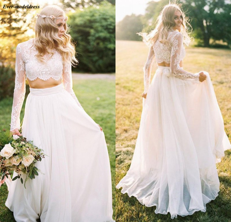 Two Piece Lace Chiffon Long Sleeves Bohemian Wedding Dresses 2019 O-Neck Simple Country Wedding Gowns Cheap vestido boda playa