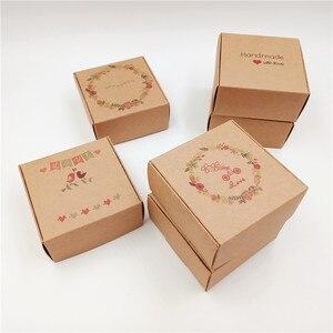 Image 4 - 50pcs 6.5x6.5x3cm Piccolo Kraft regalo di carta scatola di imballaggio, cartone kraft sapone fatto a mano contenitore di caramella, personalizzato mestiere contenitore di regalo di carta