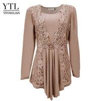 YTL плюс Размеры женская блузка Винтаж Демисезонный платье с цветочным кружевом хлопковый топ с длинным рукавом Туника блузка рубашка 6XL 7XL 8XL...