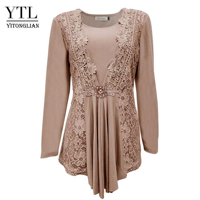6a801b66608 YTL Plus Size Womens Blouse Vintage Spring Autumn Floral Crochet Lace Top  Cotton Long Sleeve Tunic Blouse Shirt 6XL 7XL 8XL H025