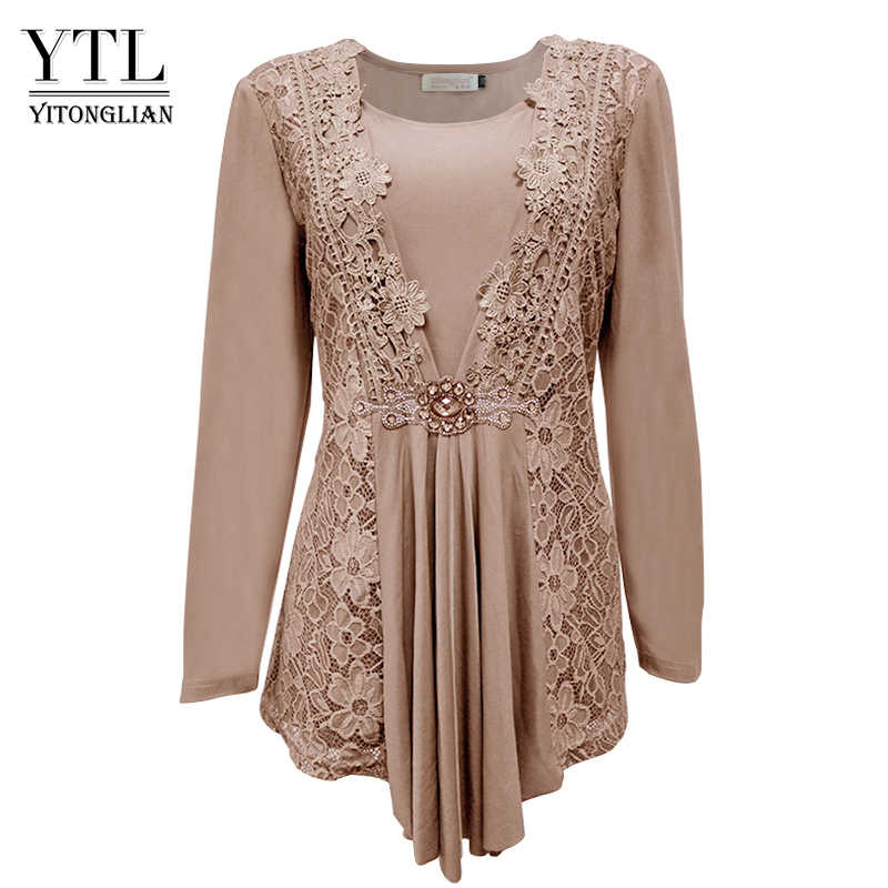 6abdd08a51 YTL Plus Size Womens Blouse Vintage Spring Autumn Floral Crochet Lace Top  Cotton Long Sleeve Tunic