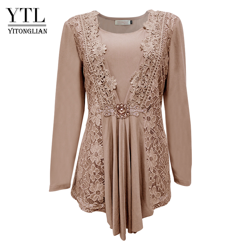 YTL Plus Size Womens   Blouse   Vintage Spring Autumn Floral Crochet Lace Top Cotton Long Sleeve Tunic   Blouse     Shirt   6XL 7XL 8XL H025