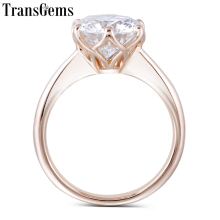 Transgems 14K Rose Gold 3ct 9mm F Color Solitaire Moissanite Engagement Ring for Women Wedding Gift Pink Ladies