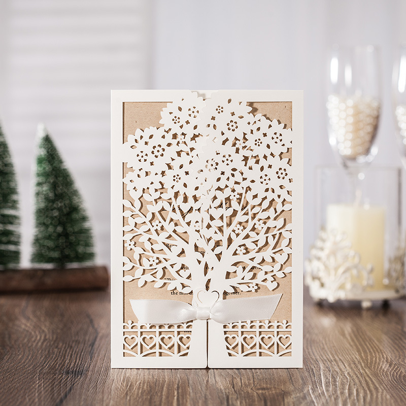 50pcs White Tree Laser Cut Marriage Wedding Invitations Cards Greeting Card 3D Card Postcard With Ribbon