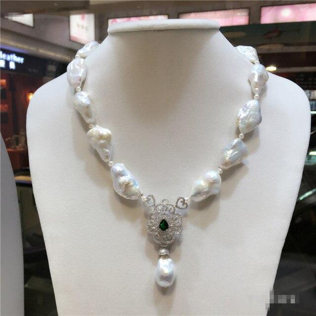 36870c98eafb Venta caliente estilo europeo americano natural grande blanco barroco perla  collar joyería de moda