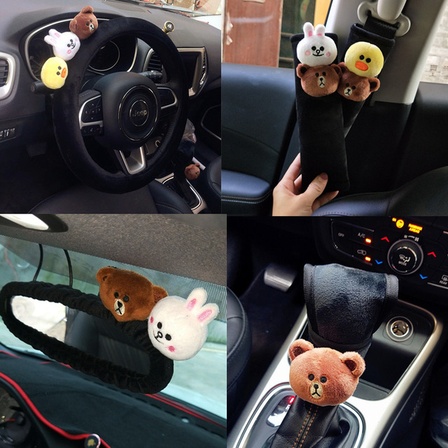 Cute Cartoon Bear Car Interior Accessories Plush Universal Steering Wheel Cover Seat Belt Rearview Mirror
