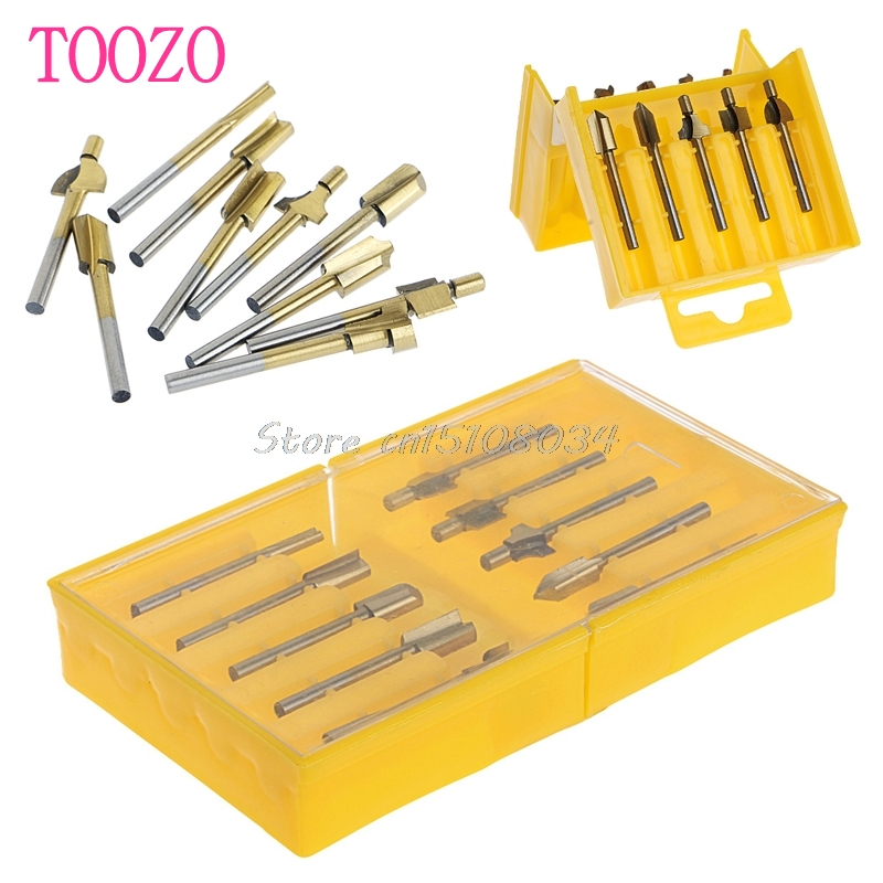 10Pcs 1/8 HSS Wood Router Bits 3mm Cutter Milling Fits Rotary Carpenter Tool S08 Drop ship