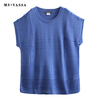 MS VASSA Spring Summer Women Sky blue O Neck Pullovers 2018 New Ladies Jumpers Short Sleeve Sweater plus size 7XL Casual