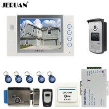"JERUAN 8"" video door phone doorbell intercom system home access control system RFID video recoreding +power supply"