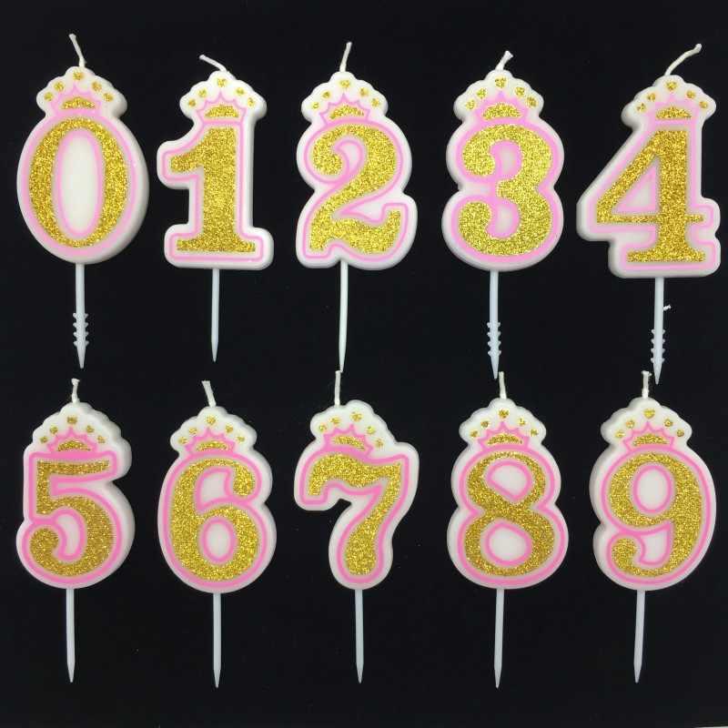 Shining Gümüş Pembe/Mavi Mutlu Doğum Günü Numarası Mumlar 0-9 için Çocuk Yetişkin Kızlar Doğum Günü Partisi Taç Mumlar kek Dekorasyon