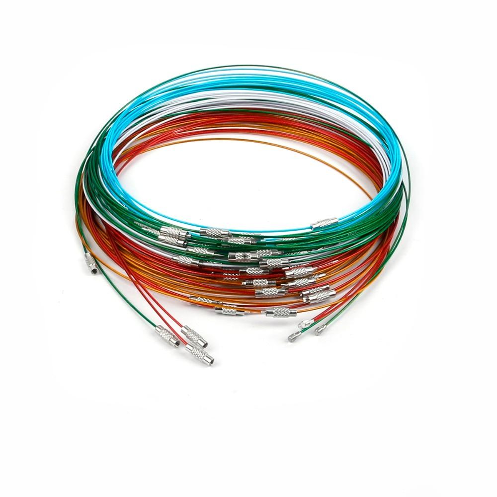 10 шт./лот 46 см ожерелье из нержавеющей стали разных цветов проволочный шнур для рукоделия ювелирные изделия шероховатость 1 мм женское ожере...