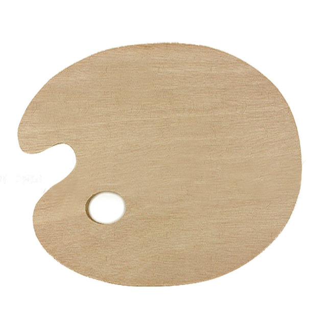 30 x 40cm wooden oval art paint color mixing tray palette with thumb hole - Color Tray