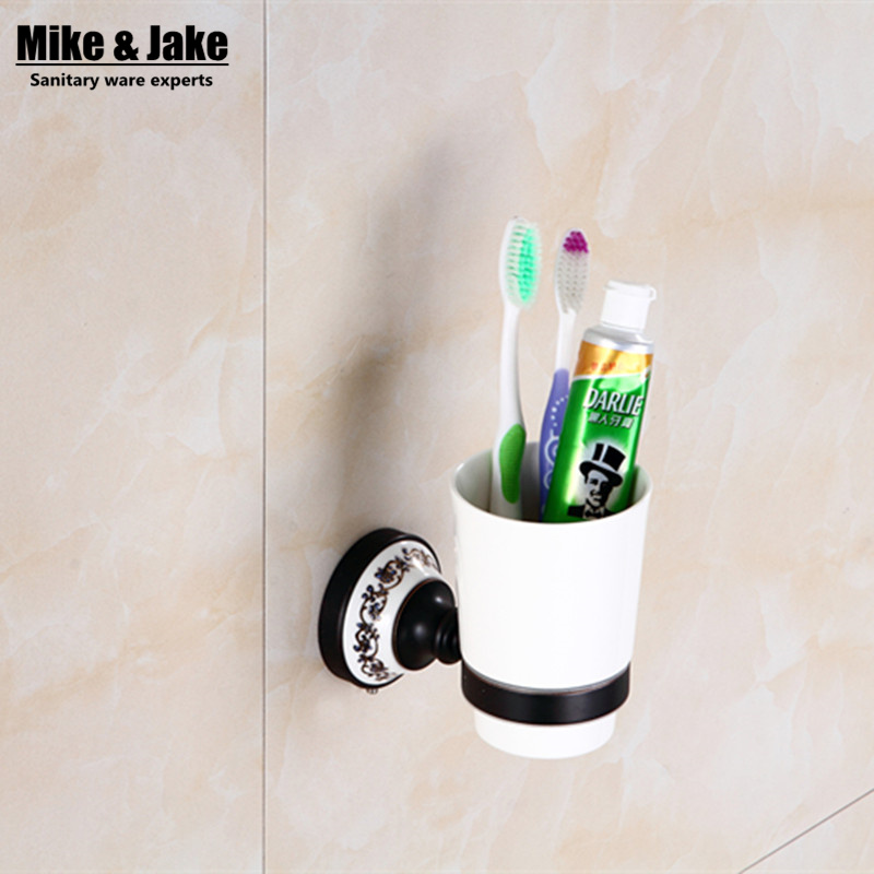 Brass Black bronze single cup holder toothbrush rack holder bathroom accessory sanitary ware bathroom furniture toilet accessory image
