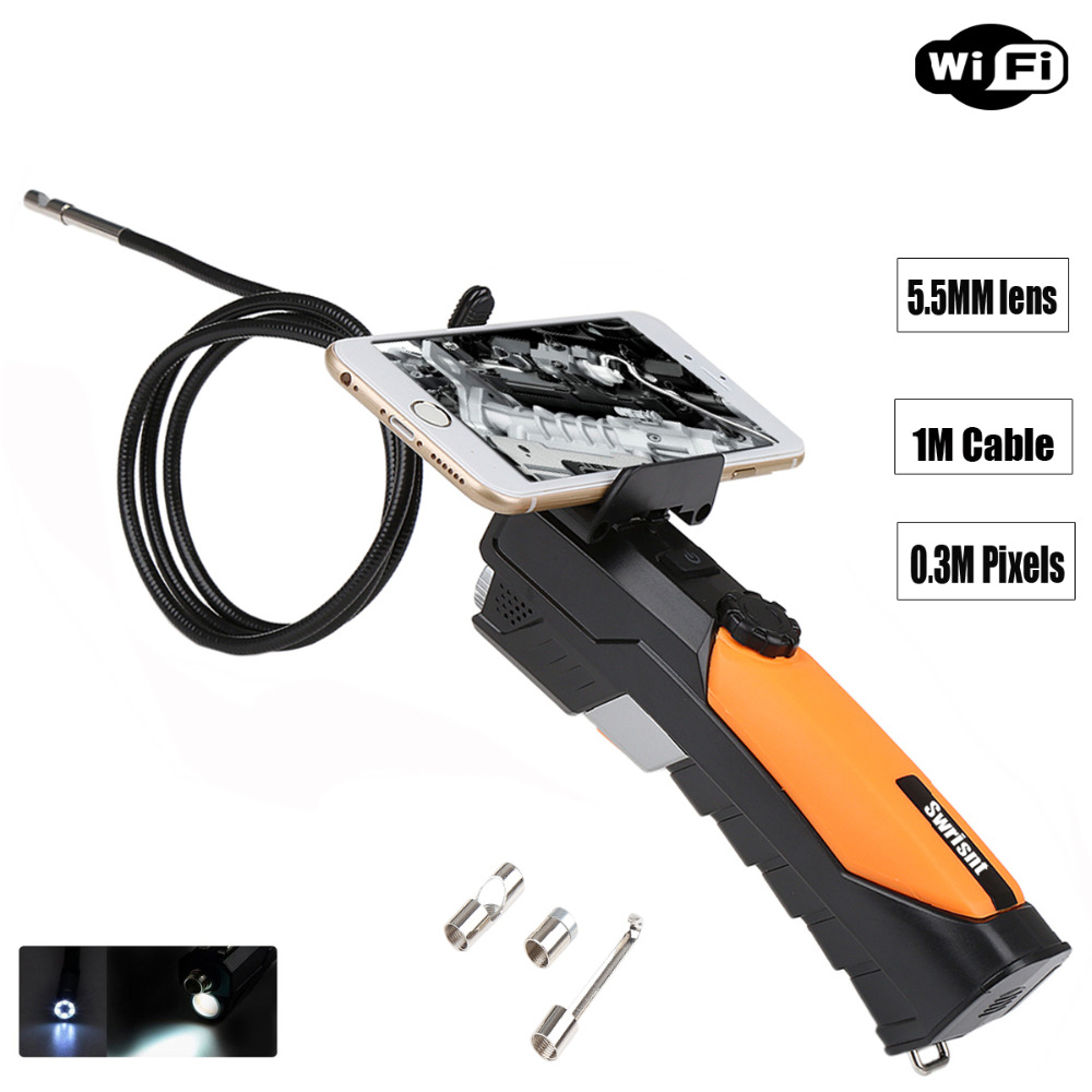 Handheld Wireless Wifi Endoscope Borescope Video Inspection Camera Soft Tube 5.5mm Diameter 1 Meter