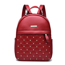Petrichor Plaid Geometric Rivets Red Backpack Female PU Leather Women Shoulder Bags Girl School Bag Small Purse Ladies
