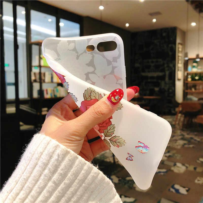 3D Emboss Flor Fosco TPU Para Huawei Honra Ver 20 8X 6A 10 7A Jogar 9 P30 P20 P9 P10 pro Lite Mini 2017 P inteligente 2019 Mais Caso