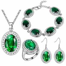 Luxury Women's Earrings Necklace ring bracelet Jewelry Sets New style green Color treasure set