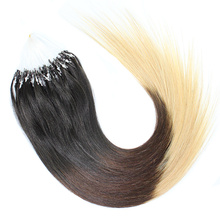 hot sale Brazilian straight micro ring loop hair extensions 100 strands/lot 14-26 inch #1b natural color