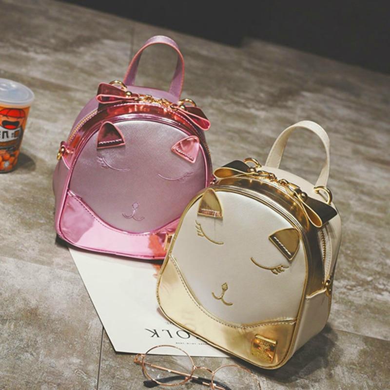 2017 Fashion Metal Colour Kawaii Cat Emoji Mini Backpack Pu Artificial Leather Mochila Feminina Women Travel Bags Pink Bagpack