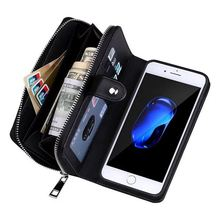 hot deal buy braid leather zipper wallet case for iphone 7 iphone7 lanyards bag pouch flip+detachable back cover case for iphone 7 4.7 inch