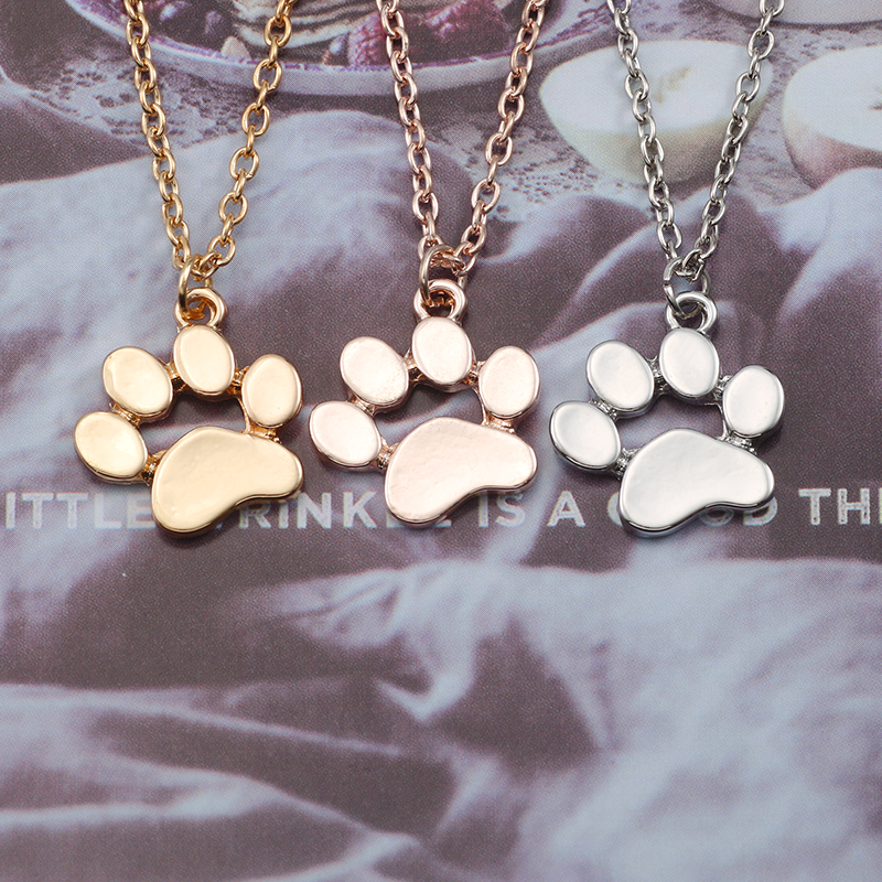 Simple Dog Footprints Footprint Necklace For Women Golden Silver Pet Footprints Pendant Animal Alloy Jewelry Gift Free Shipping in Chain Necklaces from Jewelry Accessories