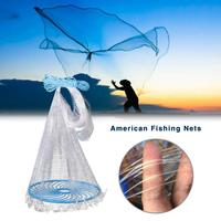 American Fishing Nets Cast Net With Heavy Duty Sinker Weights, Fishing Throw Net For Bait Trap Fish Two Optional Met Sizes