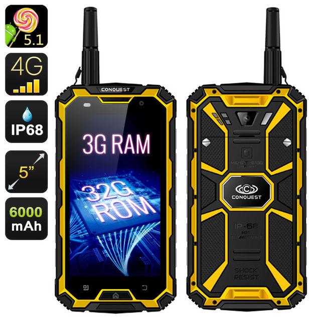 "Original conquest s8 teléfono resistente a prueba de agua 3 gb ram 6000 mah quad core 5 ""HD Android Ip68 GPS 4G LTE FDD Radio UHF Walkie talkie"
