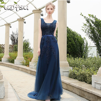 UDFSU Women V-Neck Vintage Tulle Evening Dress Off Shoulder Elegant Party Gowns Backless Floor Length Dresses