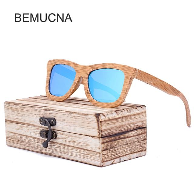 2018 Nouveau BEMUCNA Polarisées lunettes de Soleil En Bois Hommes Cool  conduite mode vintage Femmes Lunettes 38e8bf85156a
