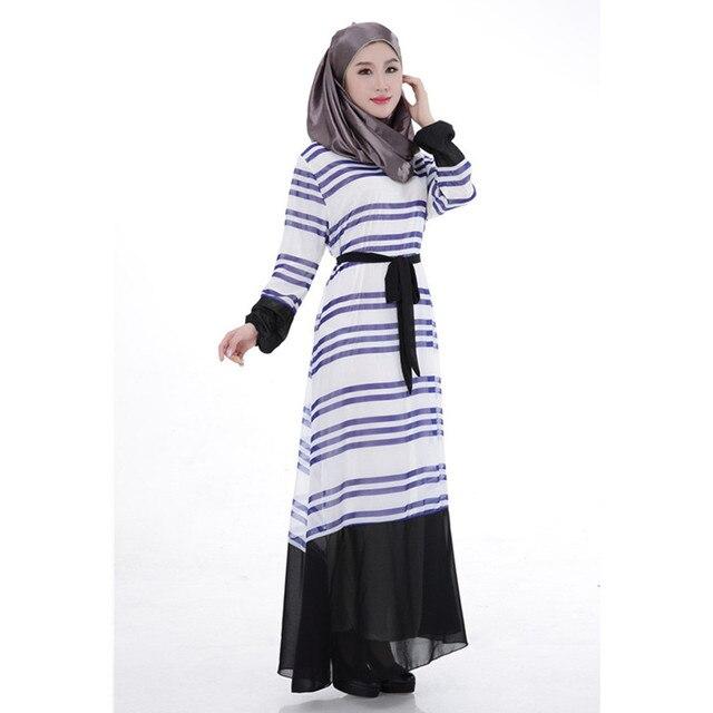 BooLawDee Мусульманских женщин шифон абая полосатый рисунок пуловеры О шеи с пояса черный orange желтый синий темно-синий свободный размер T21016