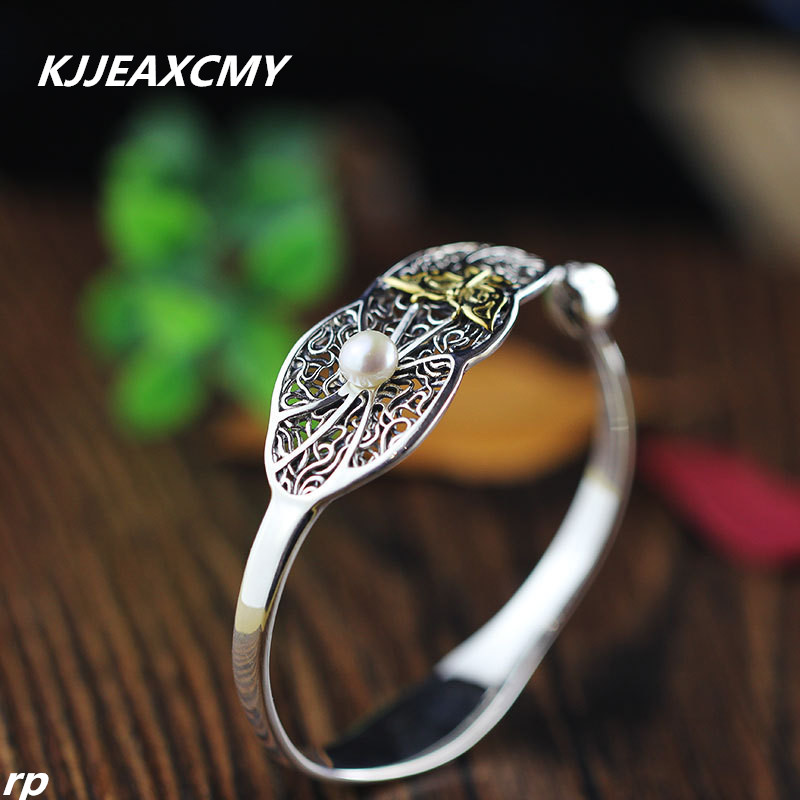 KJJEAXCMY Boutique jewelry, S925 women's national style, new lotus leaf, lotus flower, butterfly opening, women's Pearl Bracelet leaf opening bracelet