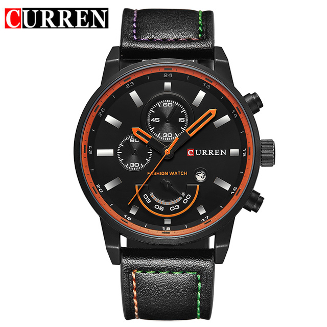 2017 Men's watch luxury famous brand fashion male Quartz watches casual leather black date display wrist watch men reloj hombre
