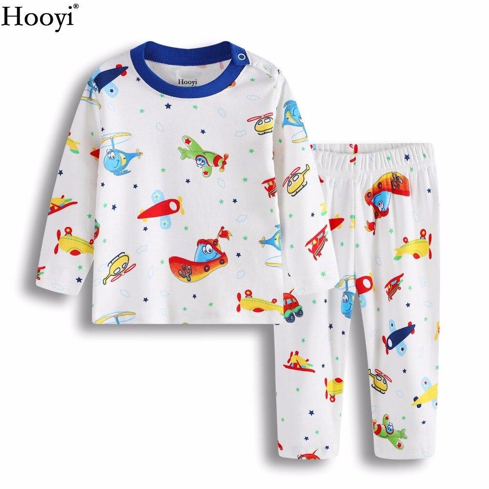 Hooyi 2018 Frühling Baby Pyjamas Kleidung Anzug Baumwolle Weiche Ebene Boot Jungen Nachtwäsche Schlaf Setzt Lange Pyjama Startseite Kleidung Set