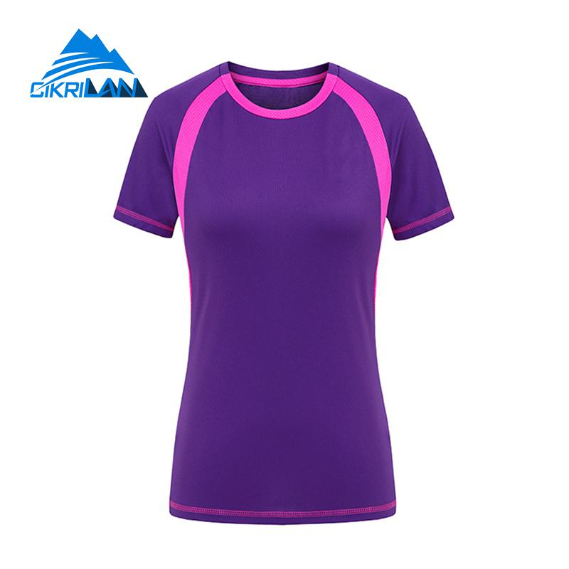 Hiking T-shirts Summer Short Sleeve Quick Dry Breathable Leisure Sport Cycling Running T-shirt Women Ciclismo Camping Hiking Outdoor T Shirt