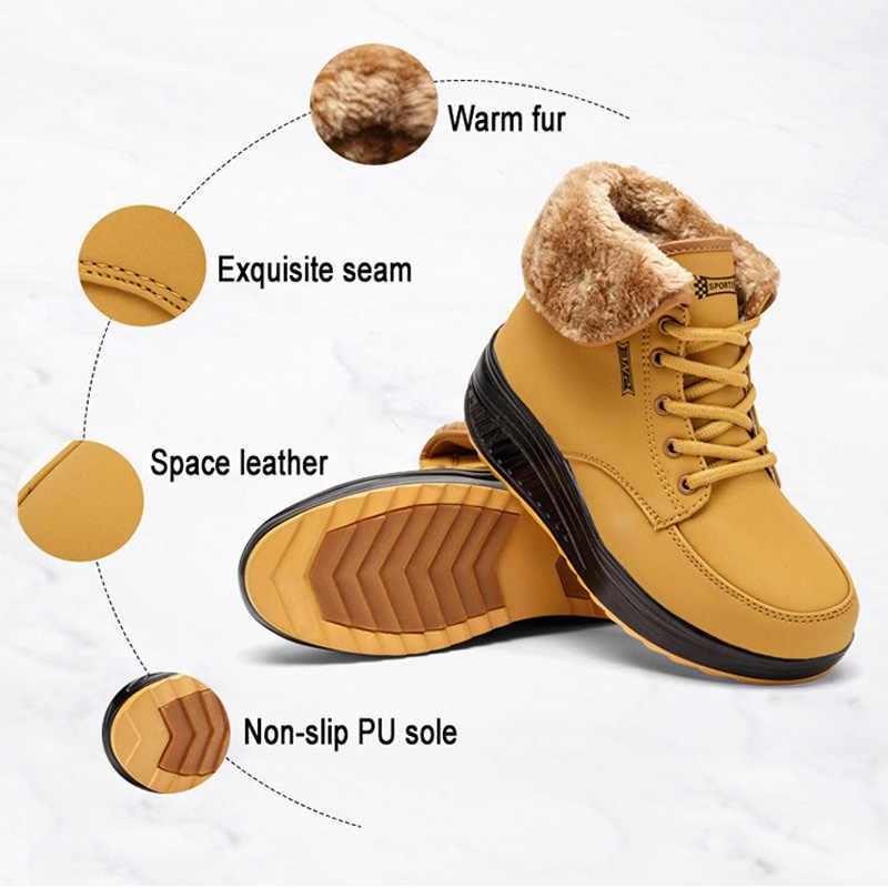 Donne Stivali Inverno Femminile Più Velluto Oscillare Scarpe Scarpe Piattaforma Stivali Da Neve Delle Donne di Cotone imbottito Scarpe Stivaletti Piatto per le delle donne