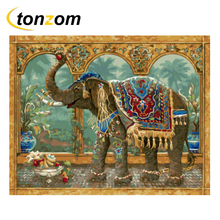 RIHE Elephant With Fruits Drawing By Numbers DIY Animals Painting Handwork On Canvas Oil Art Coloring For Home 2018