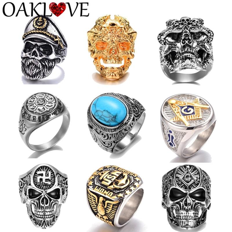 Retro Punk Men's Rings Navy Captain Buddhist Masonic Totem Alloy Lotus Sanskrit letters A Skull Head Ring Hand Jewelry Fashion