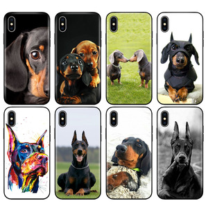 Black tpu case for iphone 5 5s SE 2020 6 6s 7 8 plus x 10 cover for iphone XR XS 11 pro MAX case Cute Dachshund Doberman Dog(China)