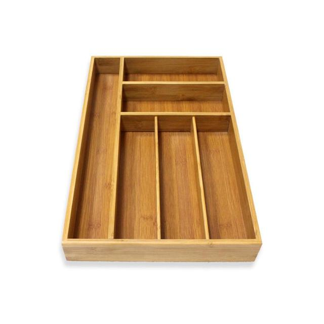 Multifunction Non Retractable Bamboo Drawer Storage Box Tableware Kitchen Organizer