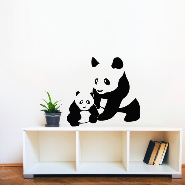 Panda Mon And Baby Silhouette Wall Stickers Animal Home Decor Vinyl Adhesive Removable Wall Decals Art