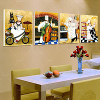 4 Panel Picture Happy Chef Wall Art Poster Canvas Home Decoration Wall Picture For Living Room Art Poster And Prints Unframed